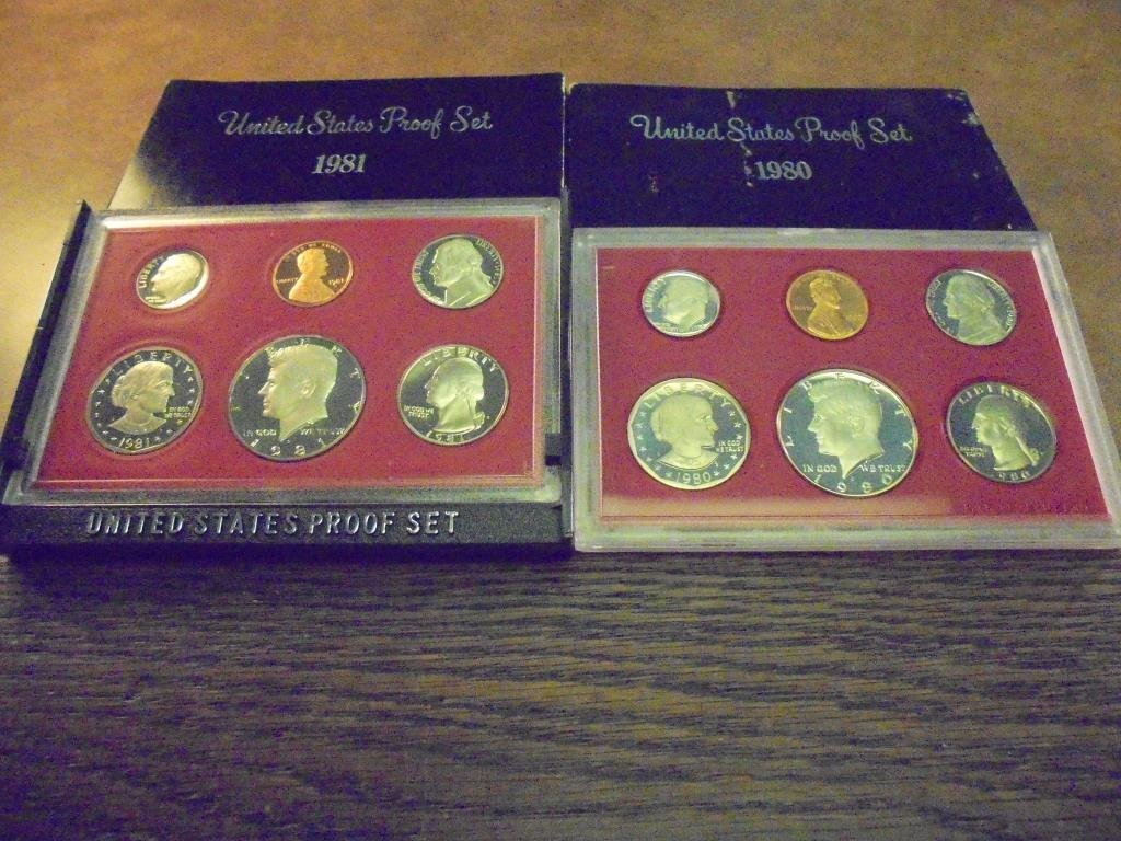 1980 & 1981 US PROOF SETS (WITH BOXES)