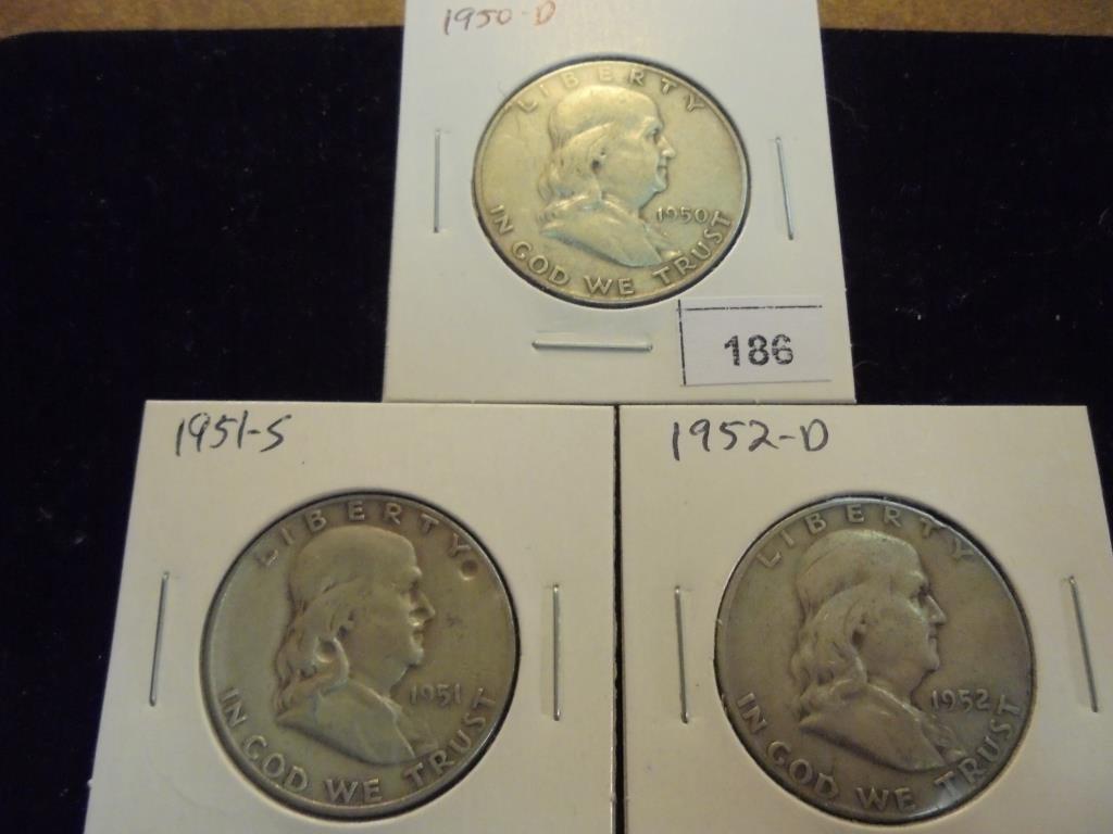 1950-D,51-S & 52-D FRANKLIN HALF DOLLARS