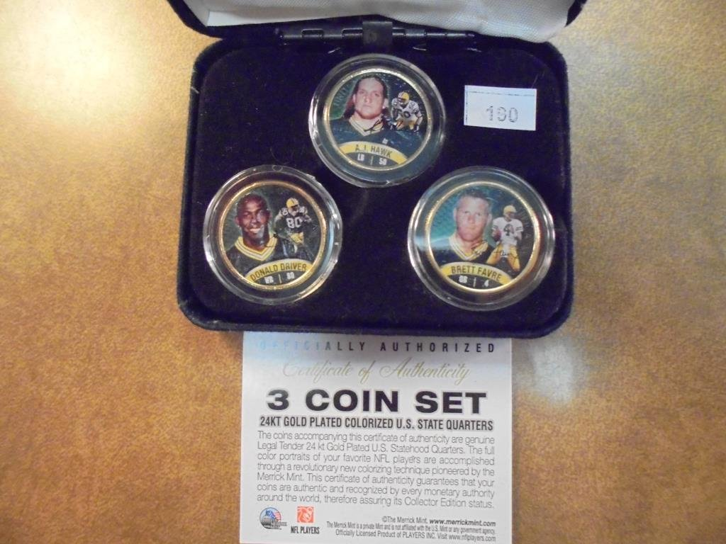 3 GOLD PLATED & COLORIZED 50 STATE QUARTERS