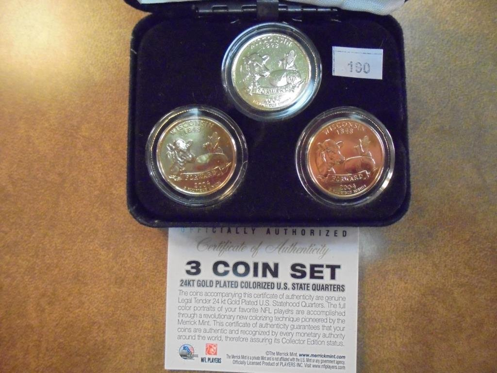 3 GOLD PLATED & COLORIZED 50 STATE QUARTERS - 2