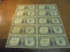 10 ASSORTED 1957 1 SILVER CERTIFICATES