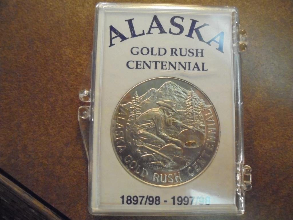ALASKA GOLD RUSH CENTENNIAL TOKEN WITH REAL GOLD