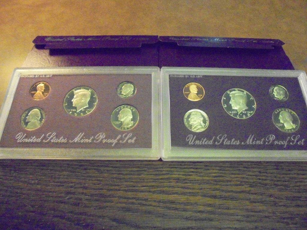 1988 & 1989 US PROOF SETS (WITH BOXES)
