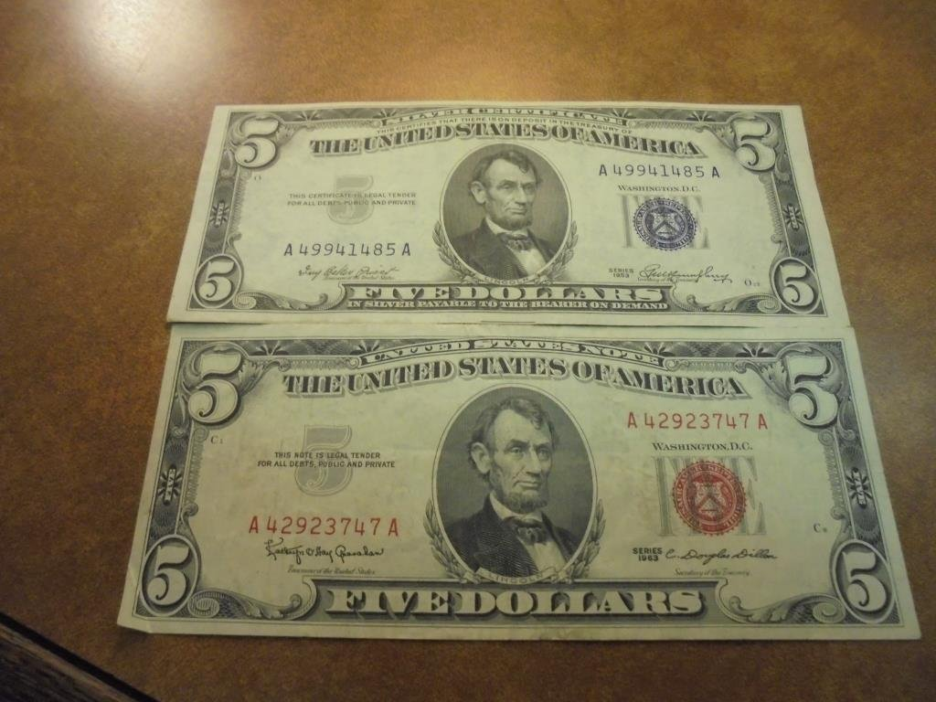 $5 CURRENCY  1953 SILVER CERTIFICATE BLUE SEAL AND