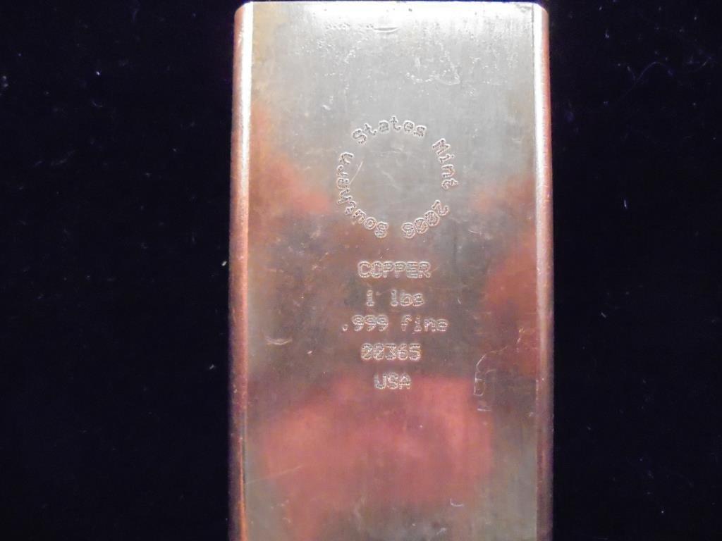 1 POUND .999 FINE COPPER INGOT 2008 SOUTHERN