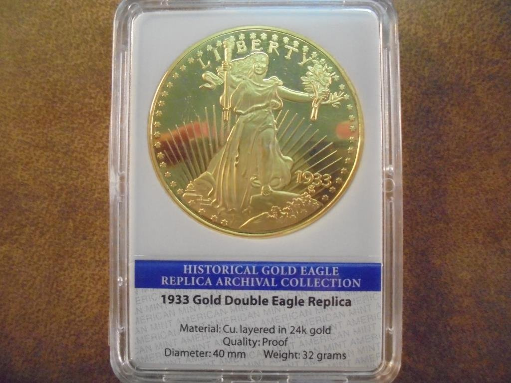 1933 GOLD DOUBLE EAGLE REPLICA LAYERED IN 24KT