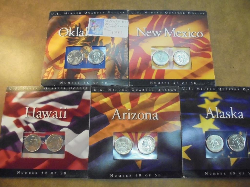 5 ASSORTED 50 STATE QUARTER P & D UNC SETS