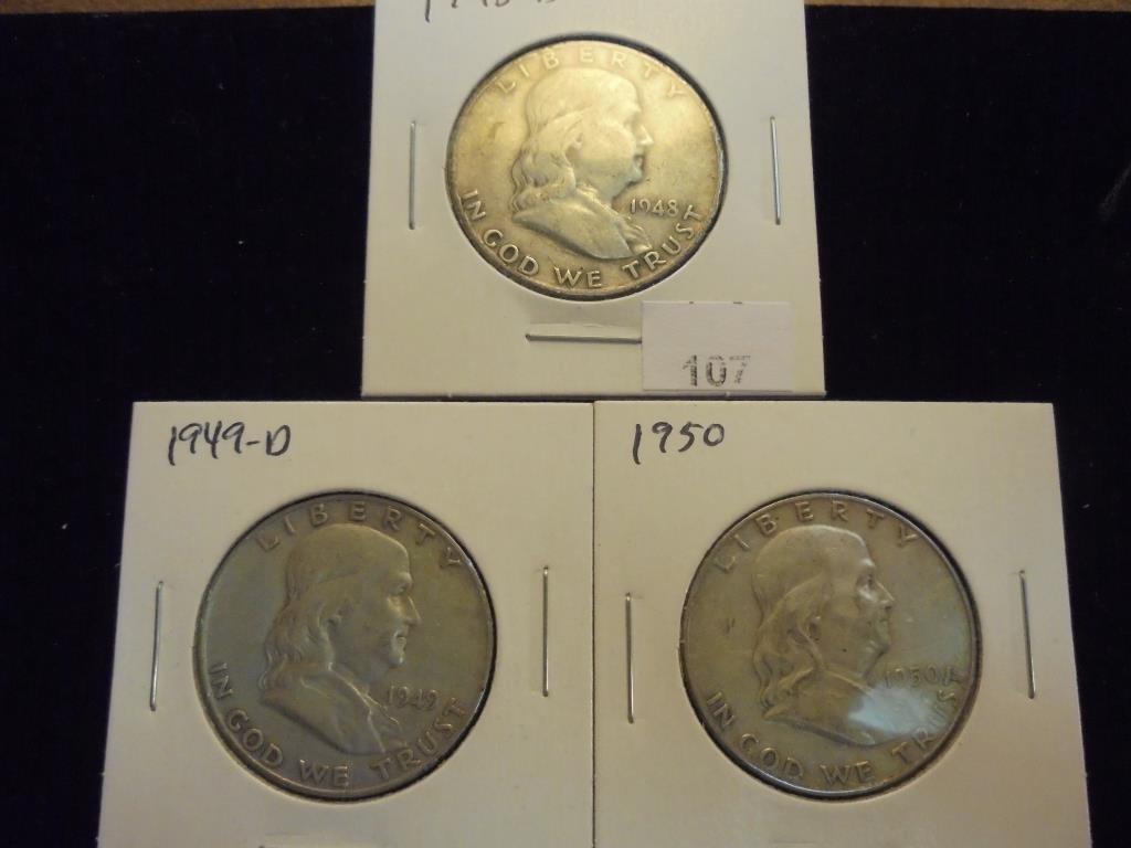 1948-D,49-D & 50 FRANKLIN HALF DOLLARS