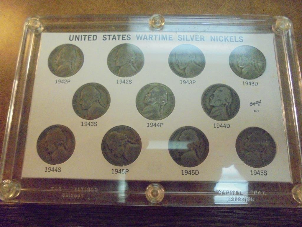 1942-1945 UNITED STATES WARTIME SILVER NICKELS SET