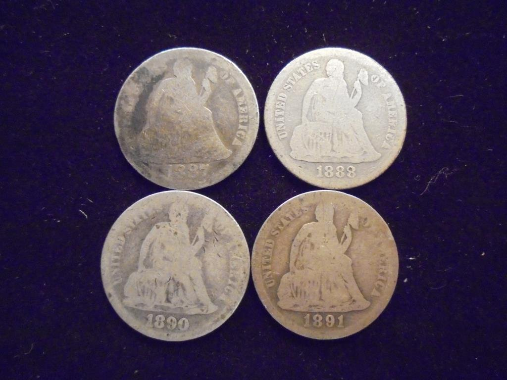1887, 88, 90 & 1891 SEATED LIBERTY DIMES