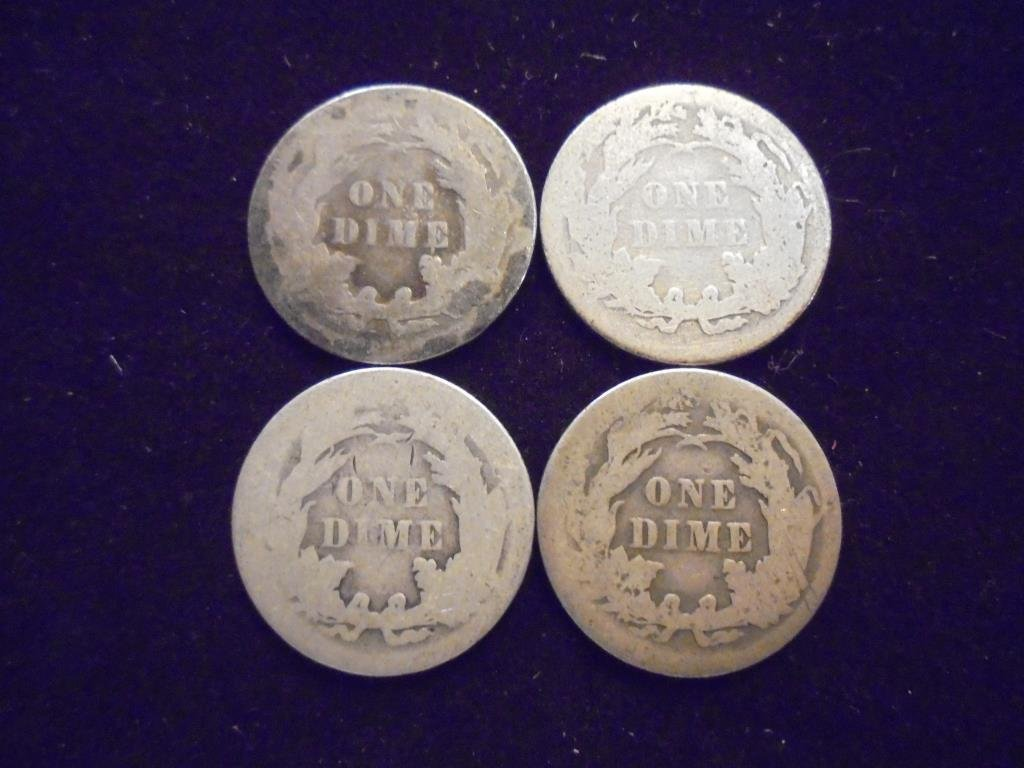 1887, 88, 90 & 1891 SEATED LIBERTY DIMES - 2