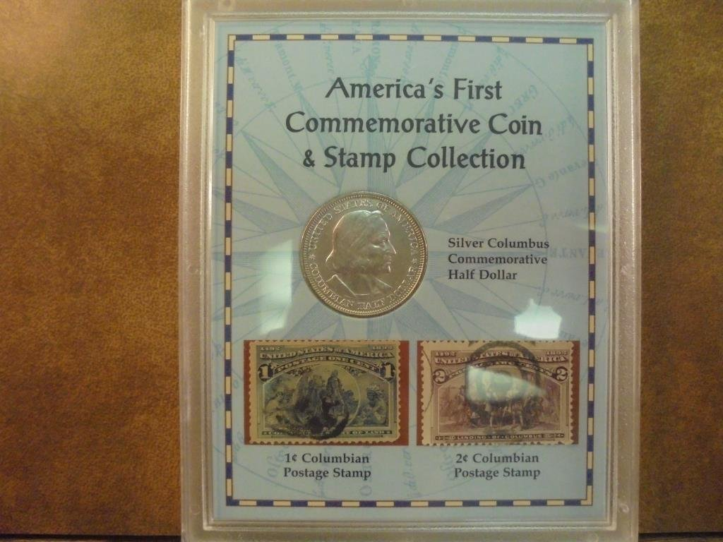 1892 COLUMBIAN EXPOSITION HALF DOLLAR WITH STAMP