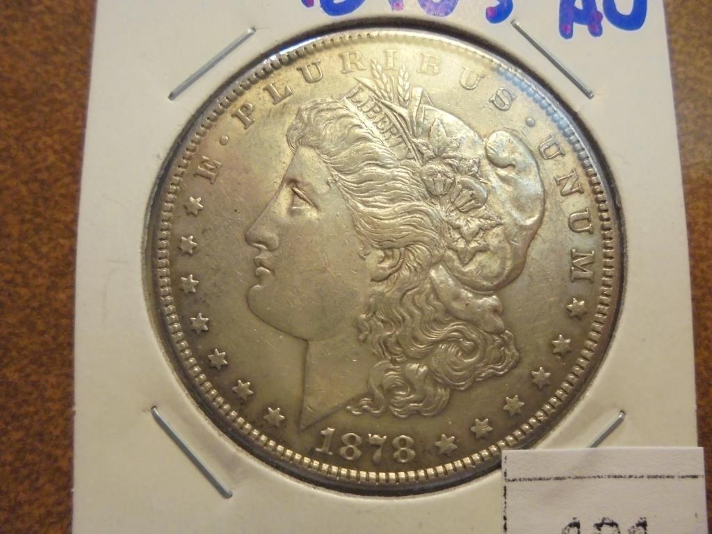 1878-S MORGAN SILVER DOLLAR AU+