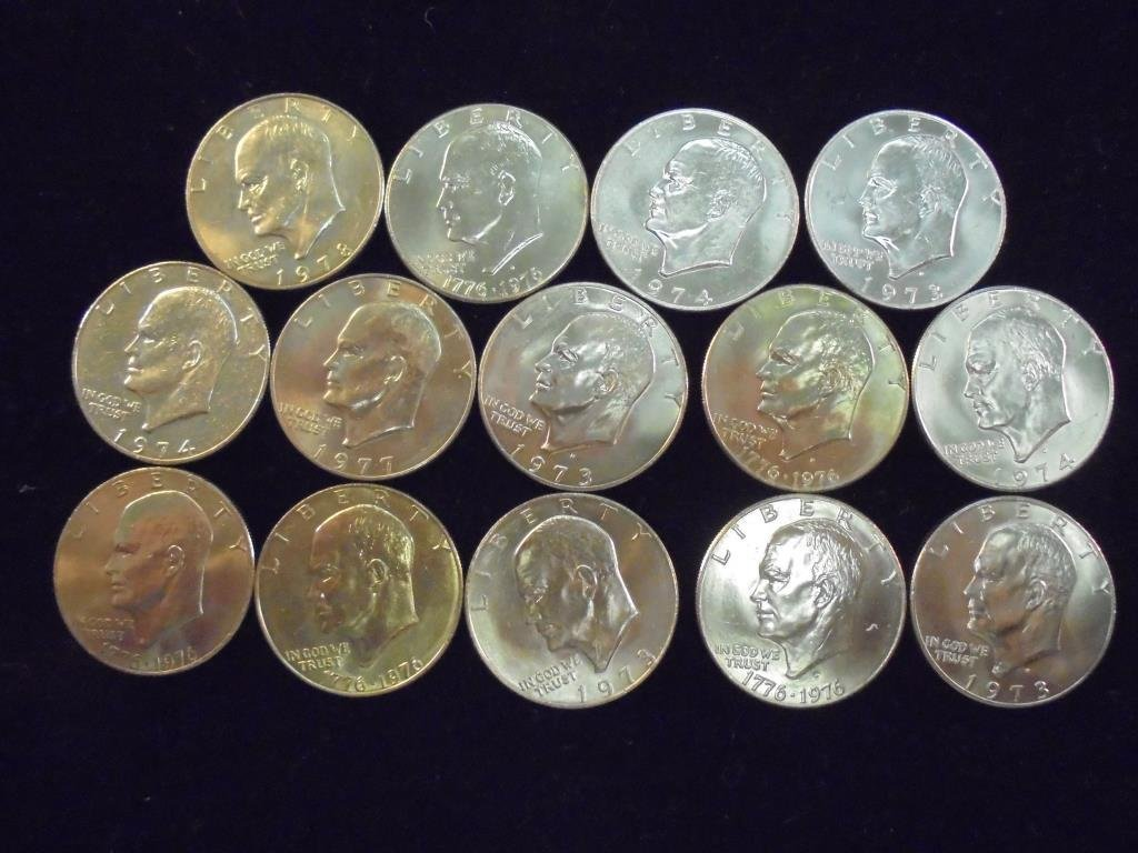 14 ASSORTED 1973-1978 IKE DOLLARS BRILLIANT UNC