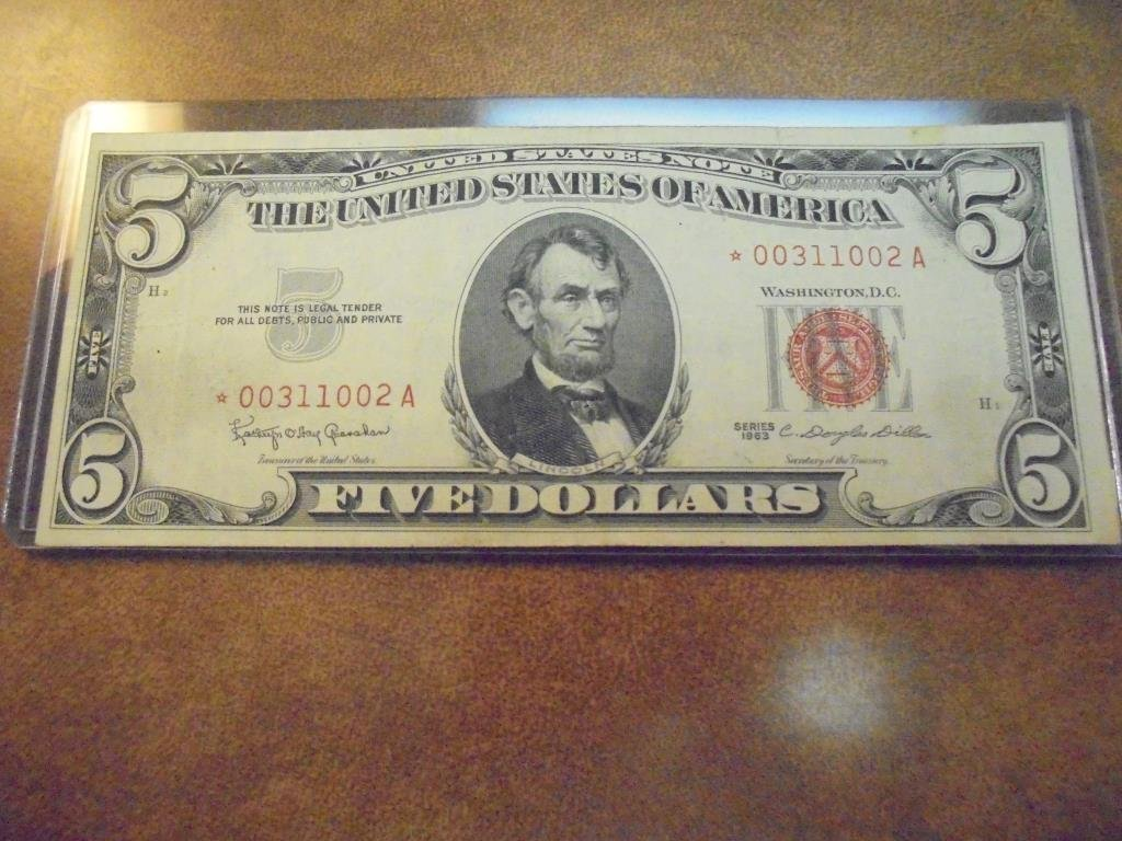 """1963 $5 US RED SEAL NOTE """"STAR NOTE"""""""