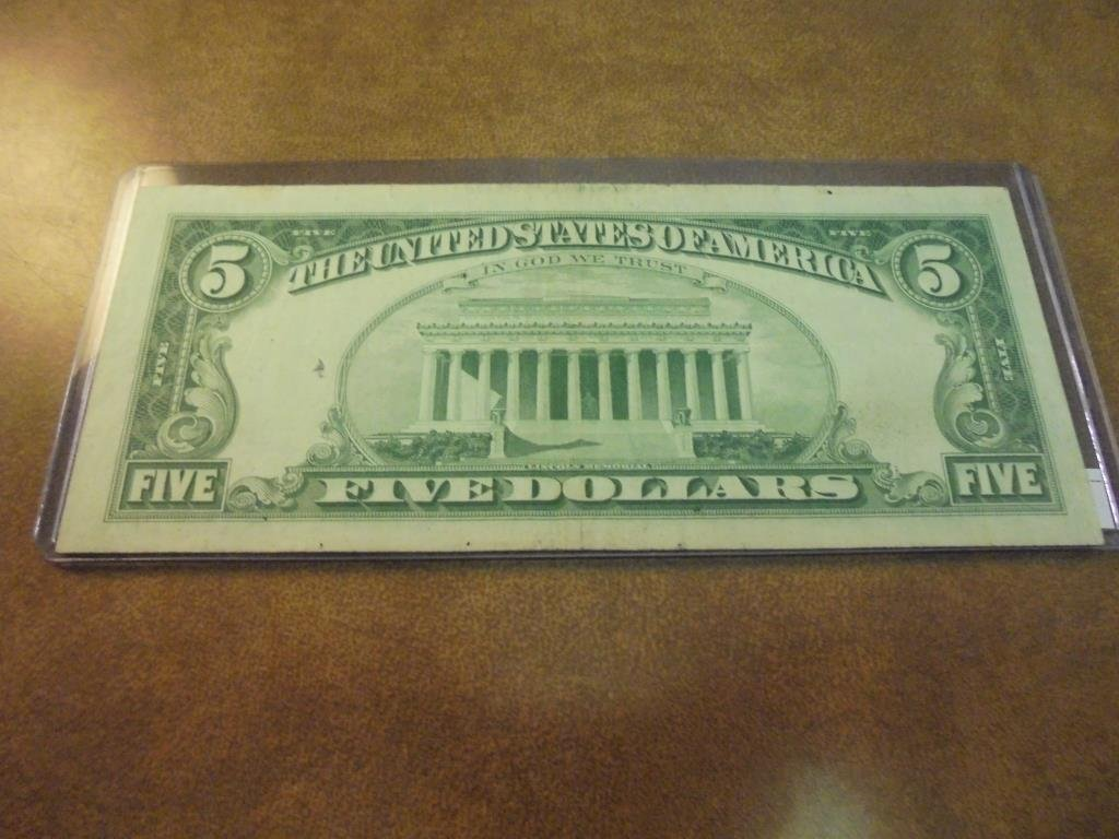 """1963 $5 US RED SEAL NOTE """"STAR NOTE"""" - 2"""