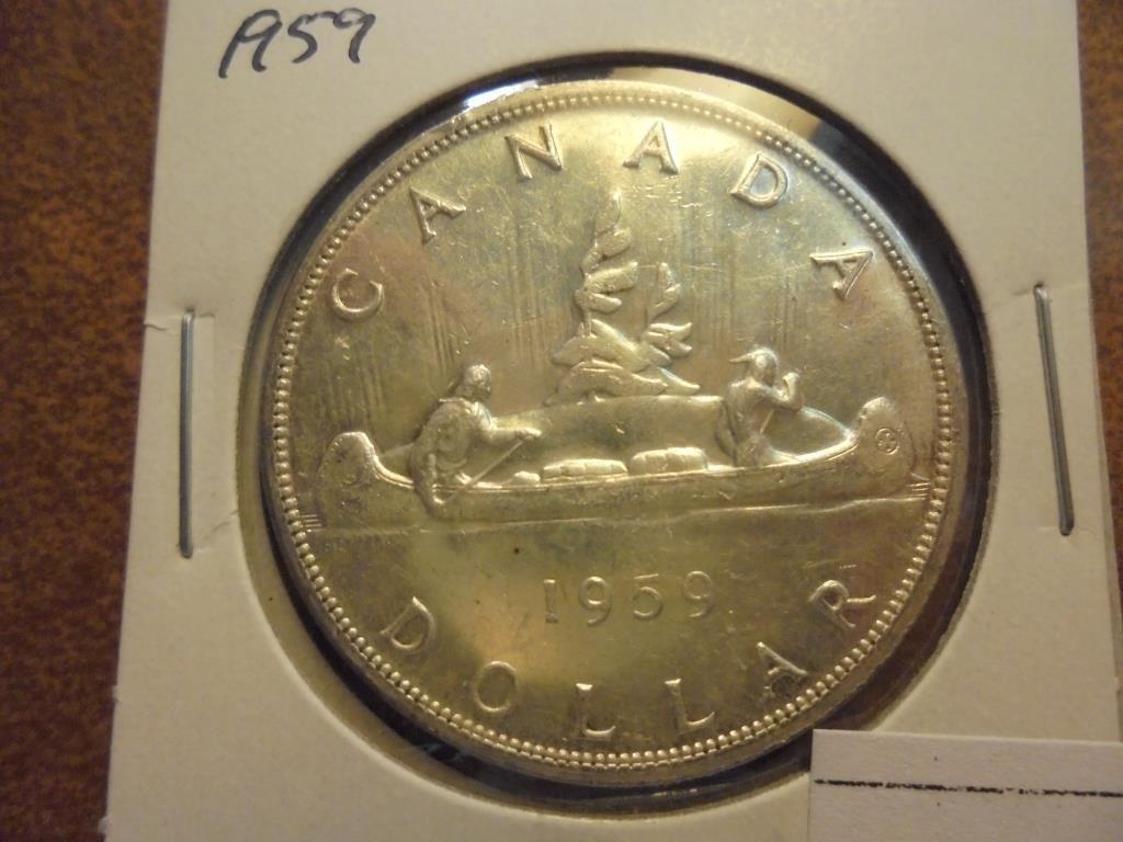 1959 CANADA SILVER DOLLAR UNC