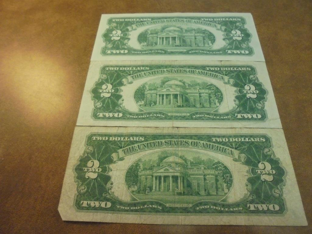 1928-G,53-A & 63-A $2 US RED SEAL NOTES