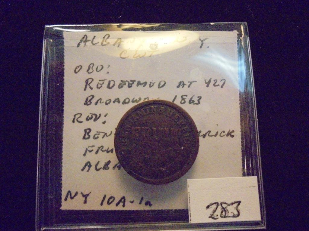 1863 CIVIL WAR TOKEN OBV. REDEEMED AT 427 BROADWAY