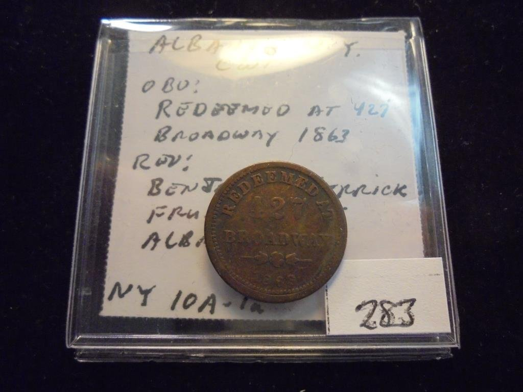 1863 CIVIL WAR TOKEN OBV. REDEEMED AT 427 BROADWAY - 2