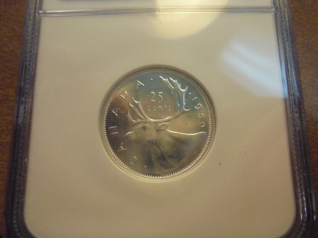 1959 CANADA SILVER 25 CENT NGC MS64 - 2