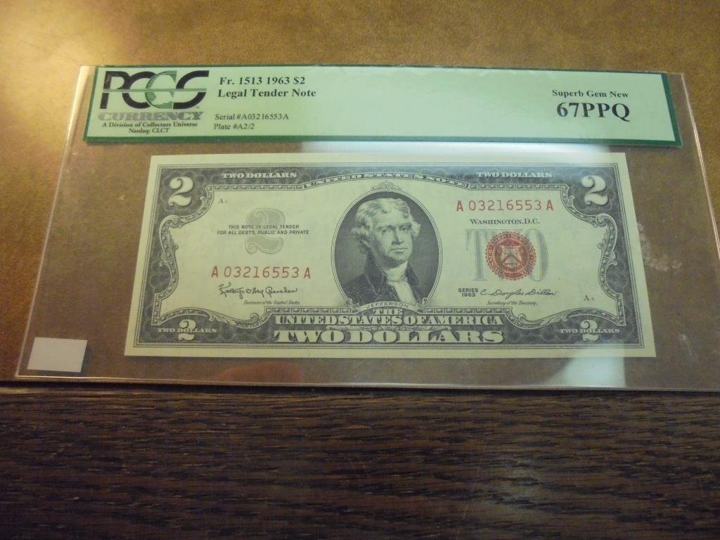 1963 $2 LEGAL TENDER NOTE PCGS SUPERB GEM NEW