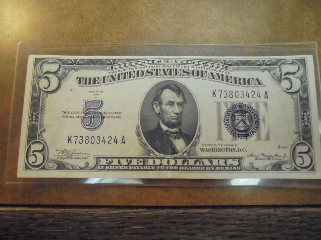 1934-A $5 SILVER CERTIFICATE BLUE SEAL CRISP