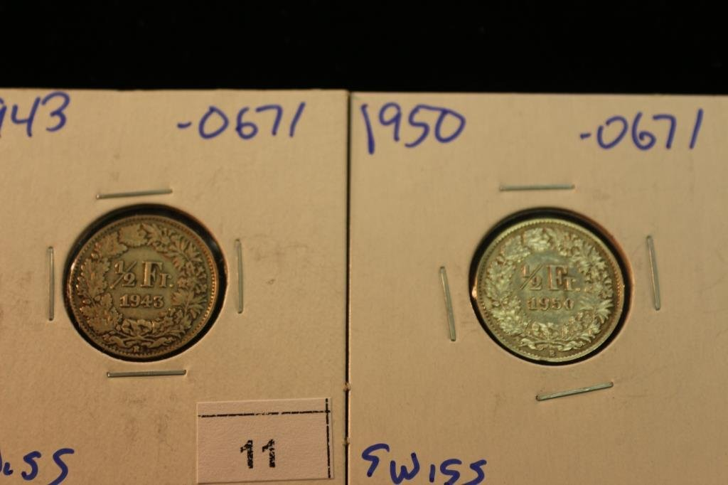 1943 & 1950 SWISS SILVER HALF FRANCS .0671 OZ. ASW