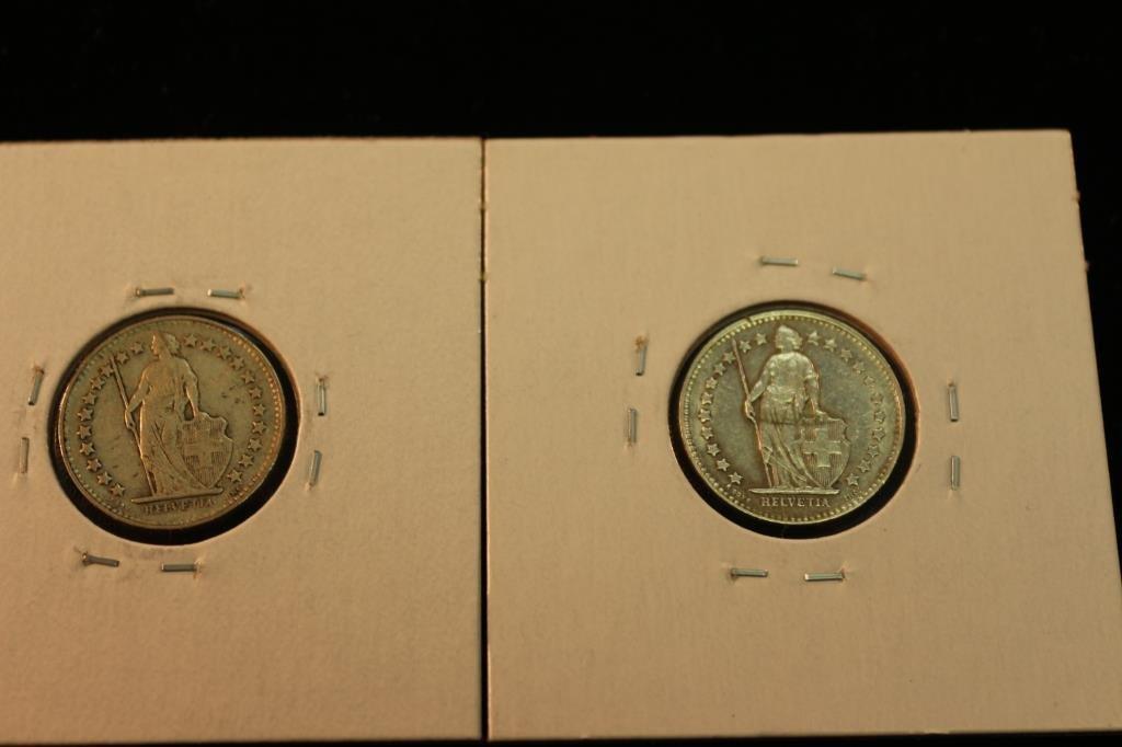 1943 & 1950 SWISS SILVER HALF FRANCS .0671 OZ. ASW - 2