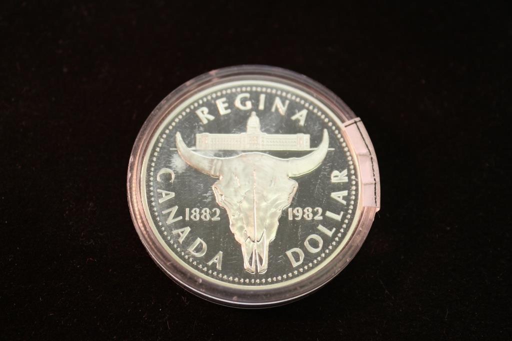 1982 CANADA REGINA SILVER DOLLAR PROOF