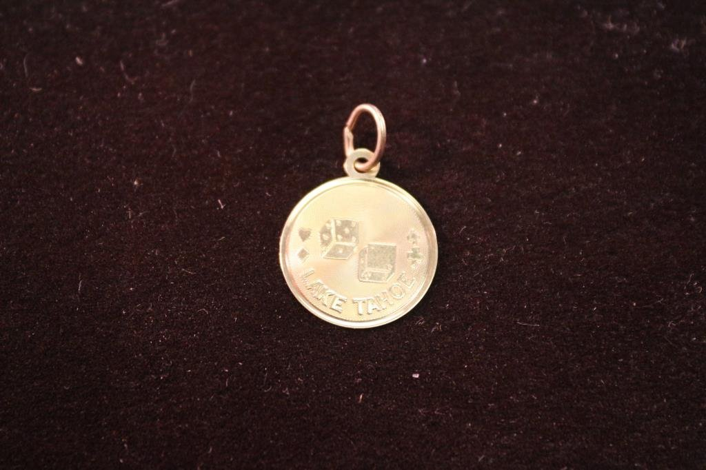 APPROX. .7 GRAM 14KT GOLD LAKE TAHOE CHARM