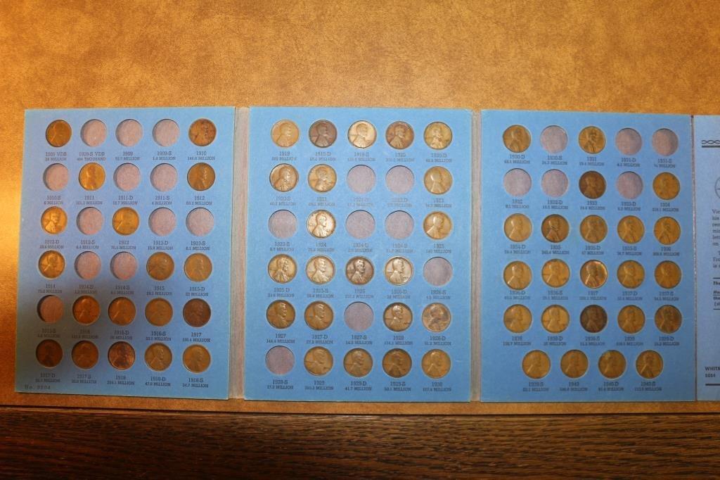 PARTIAL LINCOLN CENT  ALBUM 1909-1940 63 COINS