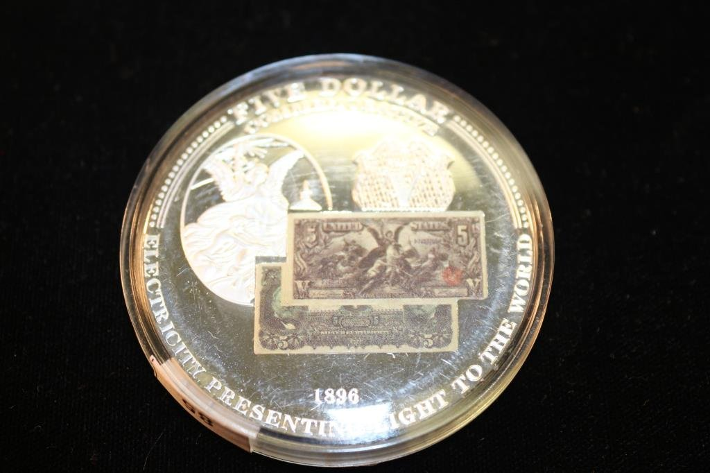"""2"""" PROOF ROUND SHOWING A $5 SILVER CERTIFICATE"""