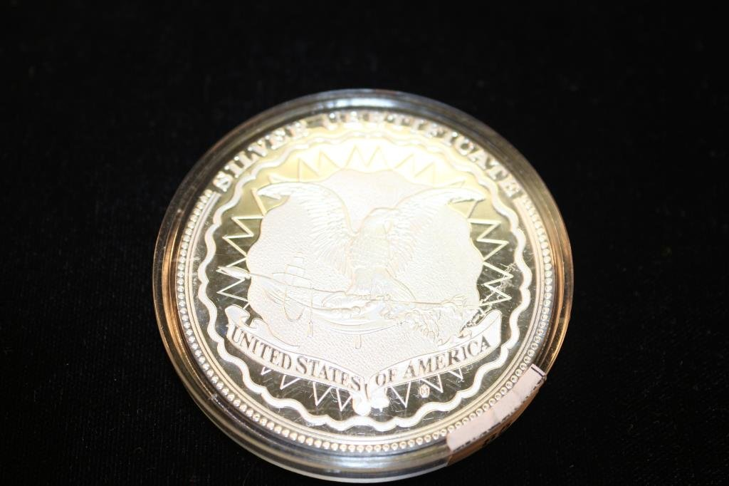 """2"""" PROOF ROUND SHOWING A $5 SILVER CERTIFICATE - 2"""