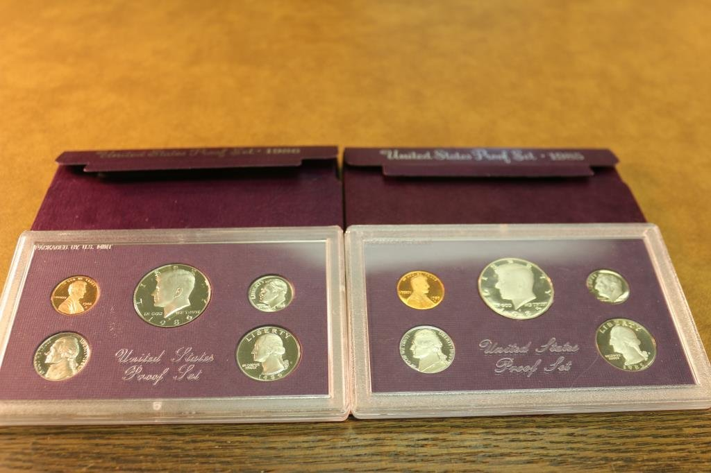 1985 & 1986 US PROOF SETS (WITH BOXES)