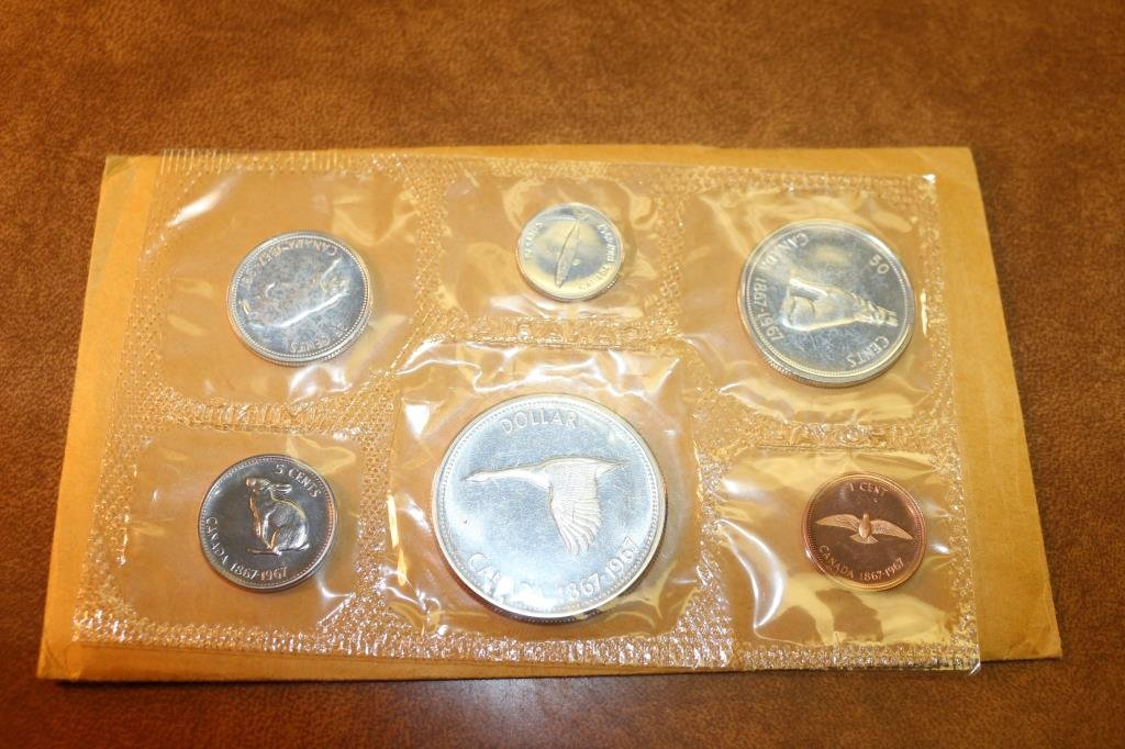 1967 SILVER CANADA FLYING GOOSE (PF LIKE) SET WITH