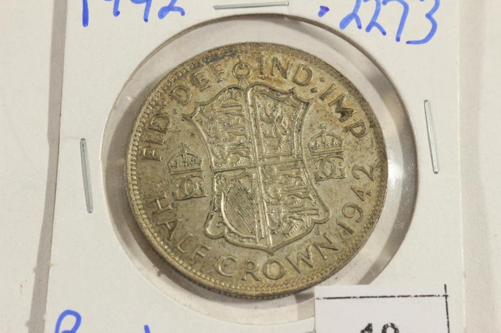 1942 GREAT BRITAIN SILVER HALF CROWN .2273 ASW