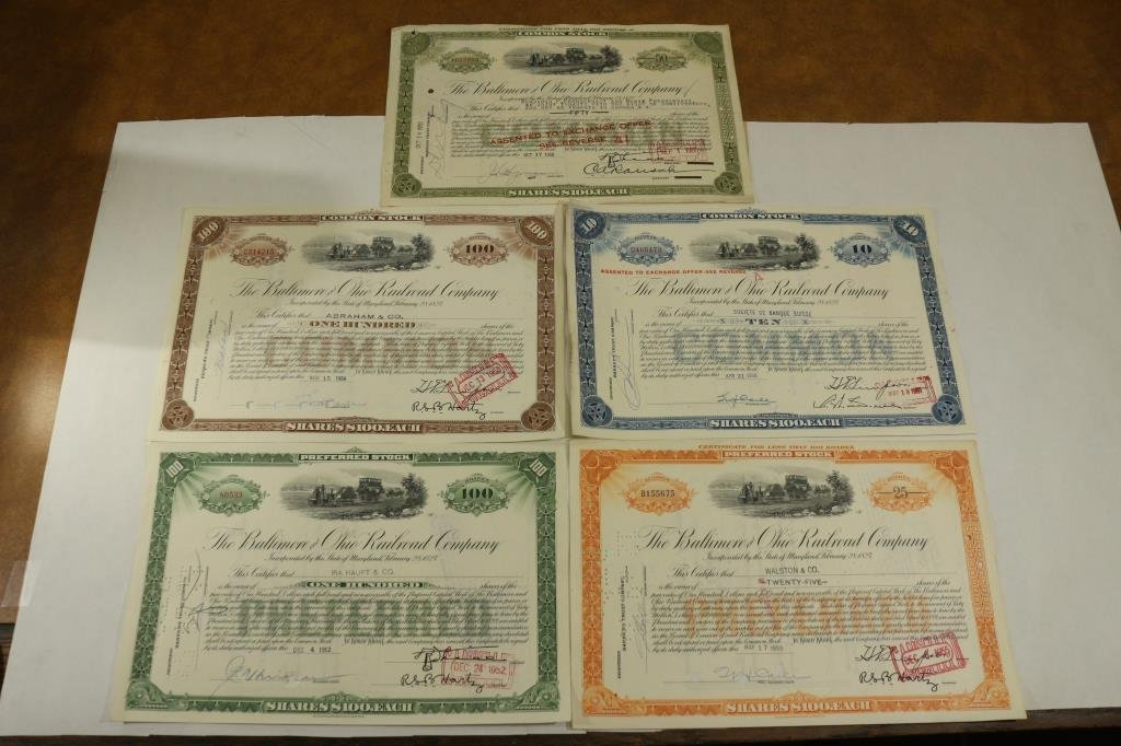 5 ASSORTED BALITMORE & OHIO RAILROAD COMPANY