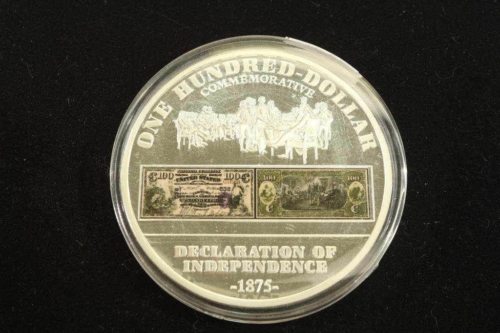 "2""  SILVER COLORED PROOF ROUND WITH COLORIZED"