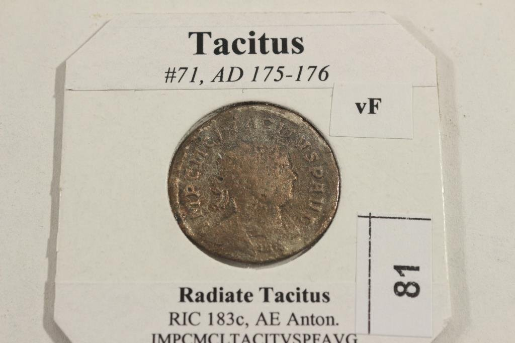 175-176 A.D. TACITUS ANCIENT COIN VERY FINE