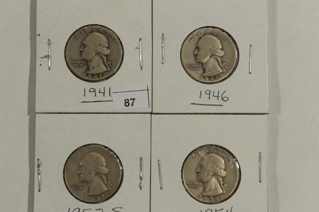 1941,46,52-S & 54 WASHINGTON SILVER QUARTERS