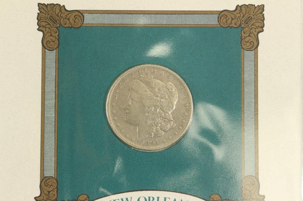 1891-O MORGAN SILVER DOLLAR & STAMP SET - 2