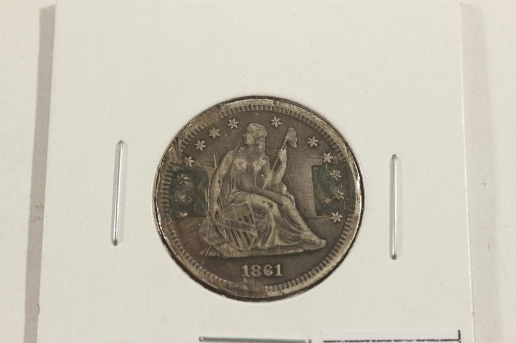 LOVE TOKEN MADE ON 1861 SEATED LIBERTY QUARTER - 2
