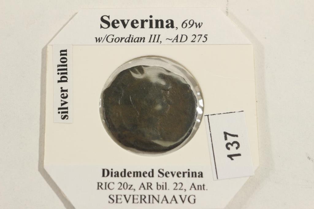SILVER BILLON 275 A.D. SEVERINA ANCIENT COIN