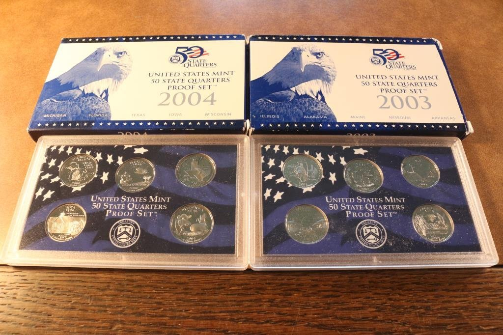 2003 & 2004 US 50 STATE QUARTERS PROOF SETS