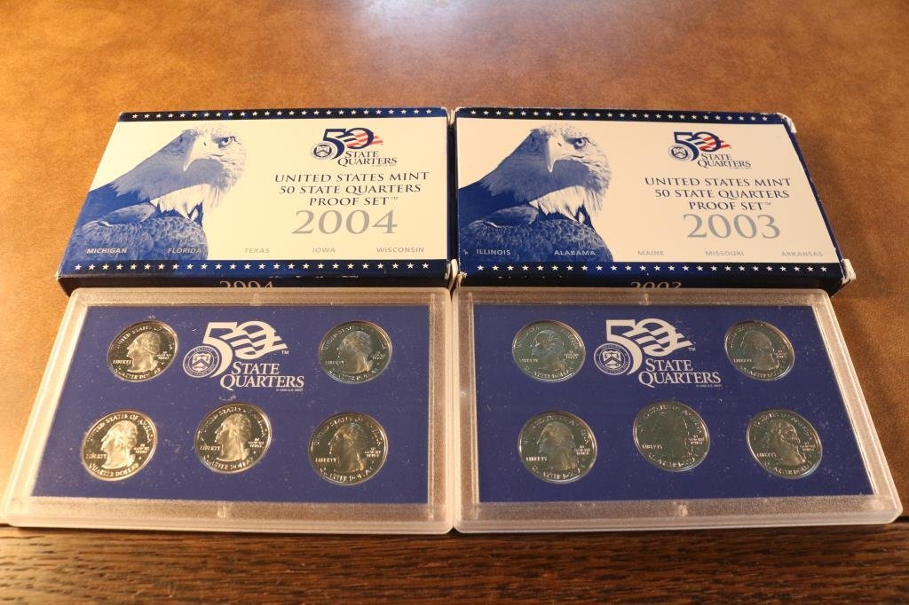 2003 & 2004 US 50 STATE QUARTERS PROOF SETS - 2