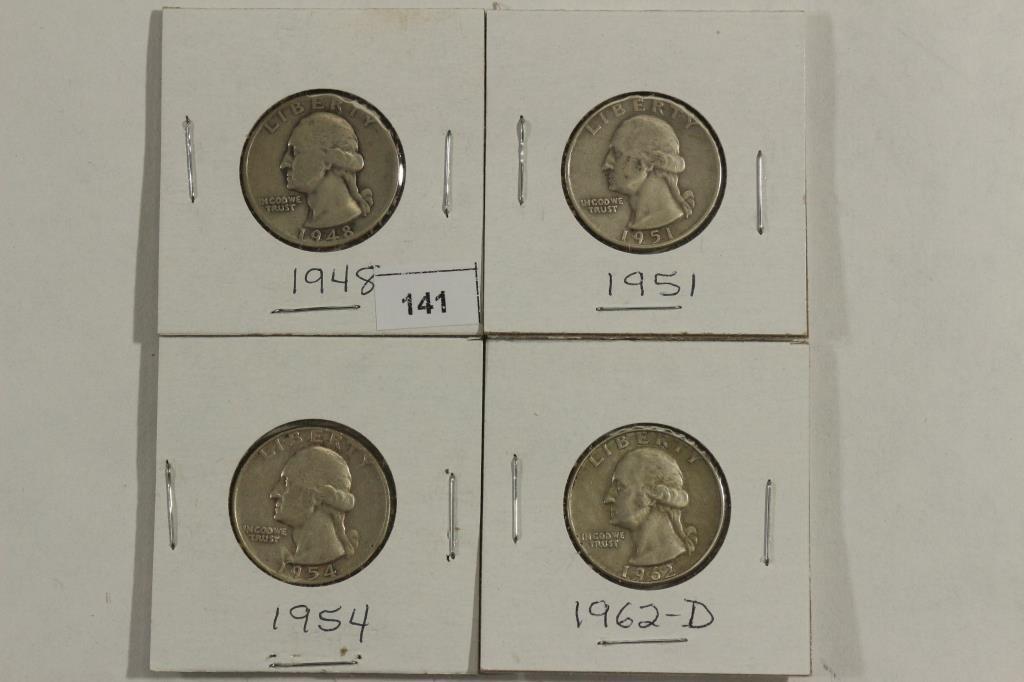 1948,51,54 & 62-D WASHINGTON SILVER QUARTERS