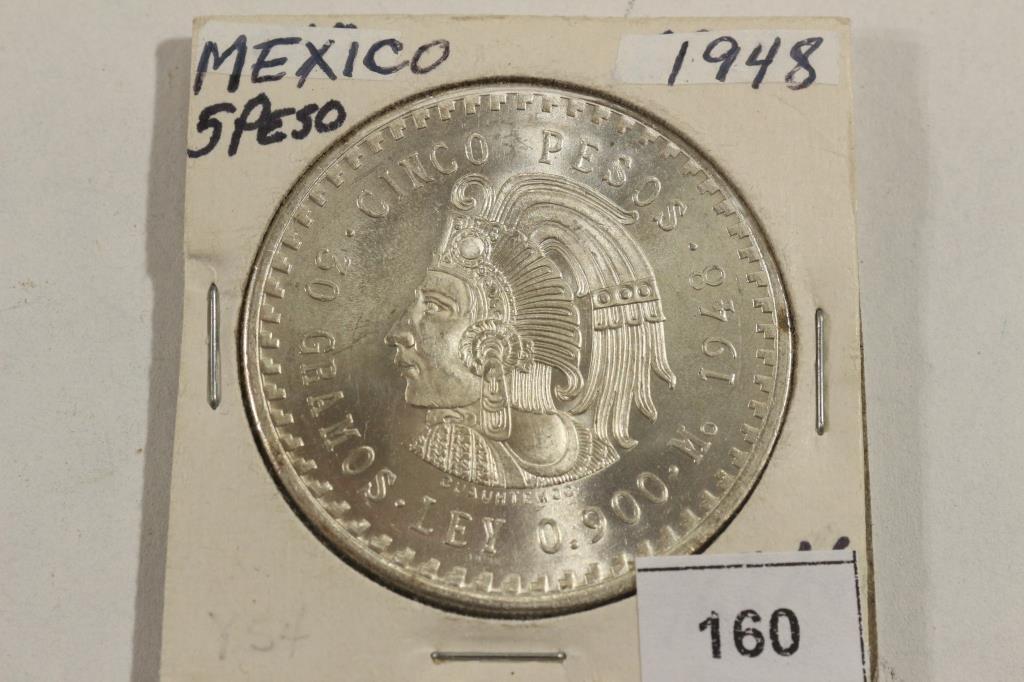 1948 MEXICO SILVER 5 PESO BRILLIANT UNC .8680 OZ.