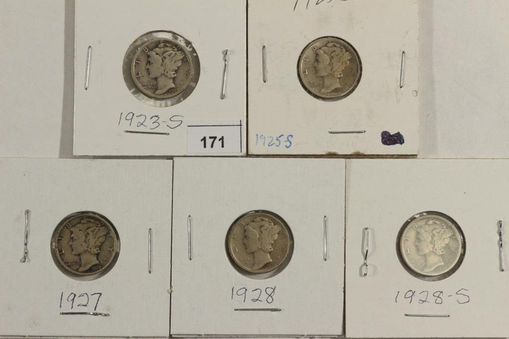 1923-S,25-S,27,28 & 28-S MERCURY DIMES