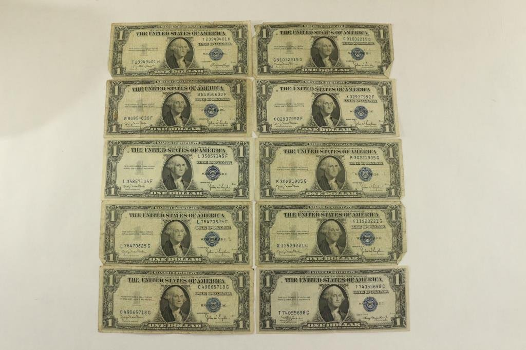 10 ASSORTED 1935 $1 SILVER CERTIFICATES